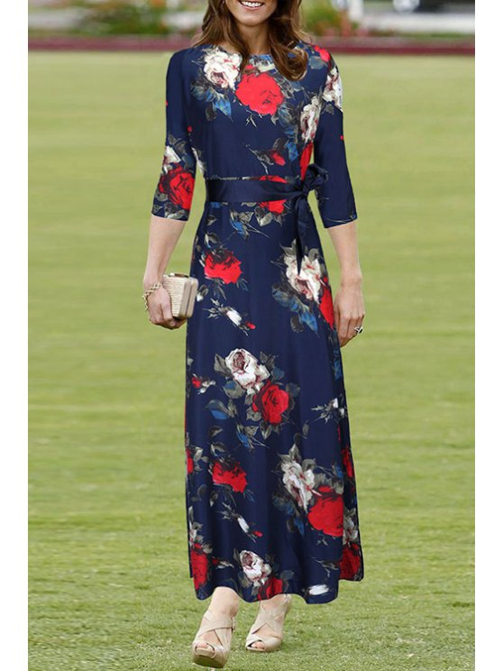 outfit Floral Print Tie-Up 3/4 Sleeve Dress - SAPPHIRE BLUE S