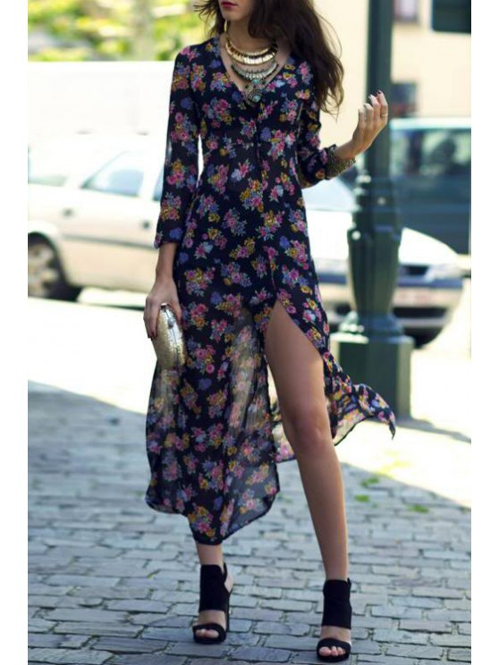 outfits Tiny Floral Print Slit Long Sleeve Dress - BLACK S