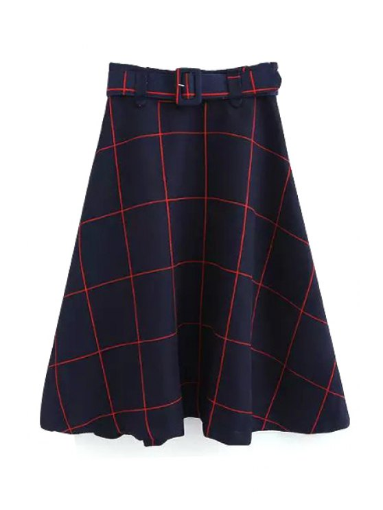 womens Plaid A-Line Midi Skirt With Belt - RED M