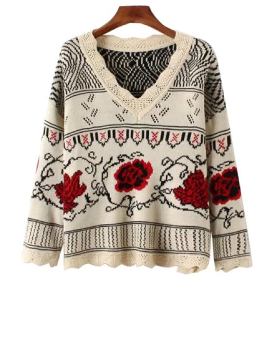 fancy Long Sleeve Jacquard Loose Sweater - OFF-WHITE ONE SIZE(FIT SIZE XS TO M)