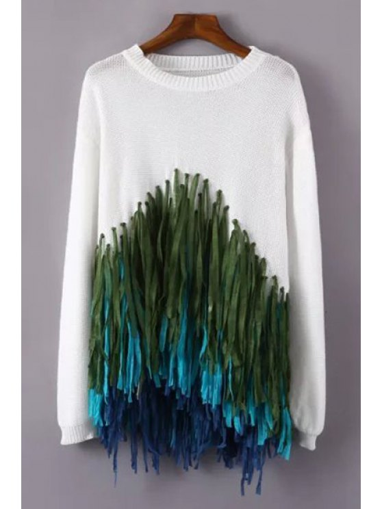 lady Colorful Tassels Spliced Sweater - WHITE ONE SIZE(FIT SIZE XS TO M)
