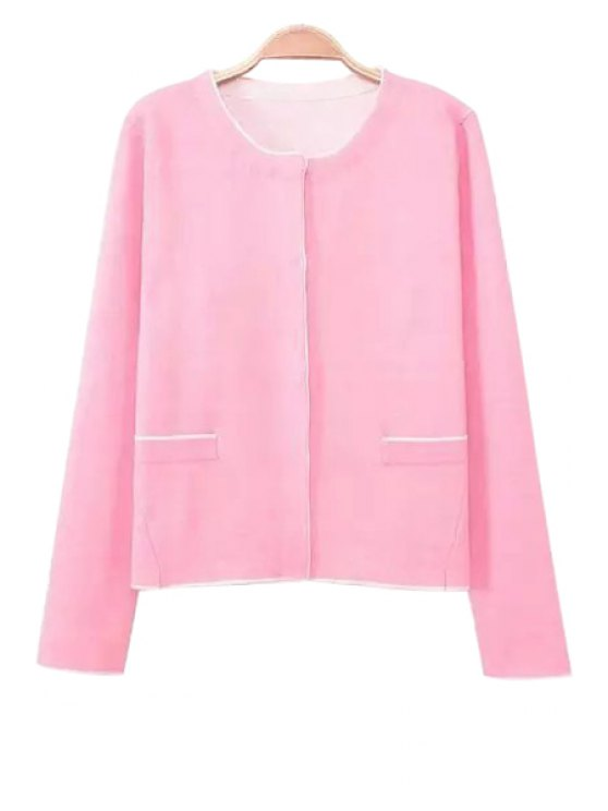 chic Single-Breasted Pink Cardigan - PINK M