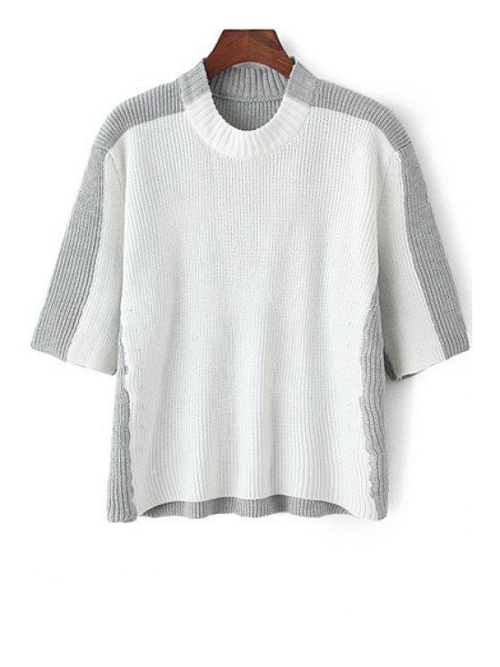 buy Half Sleeve Color Block Jumper - GREY AND WHITE ONE SIZE(FIT SIZE XS TO M)