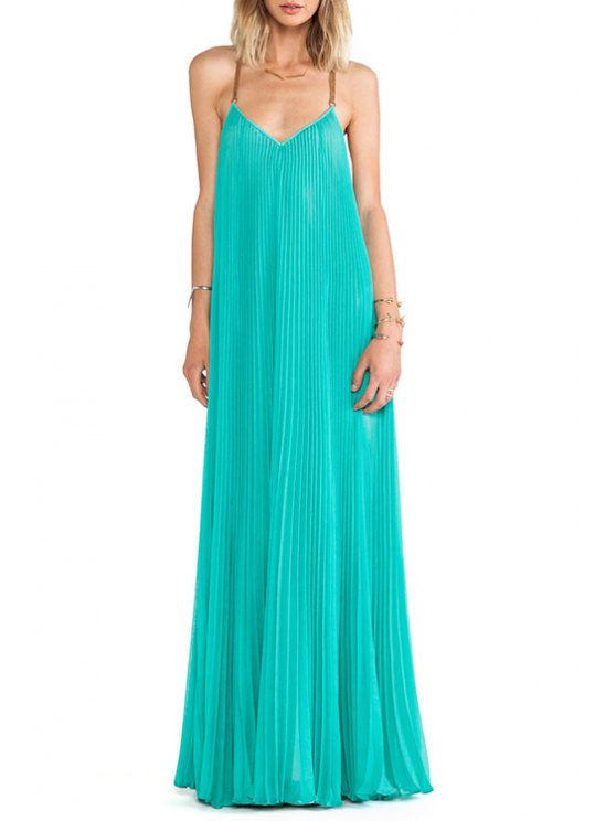 outfits Green Pleated Cami Maxi Dress - GREEN S