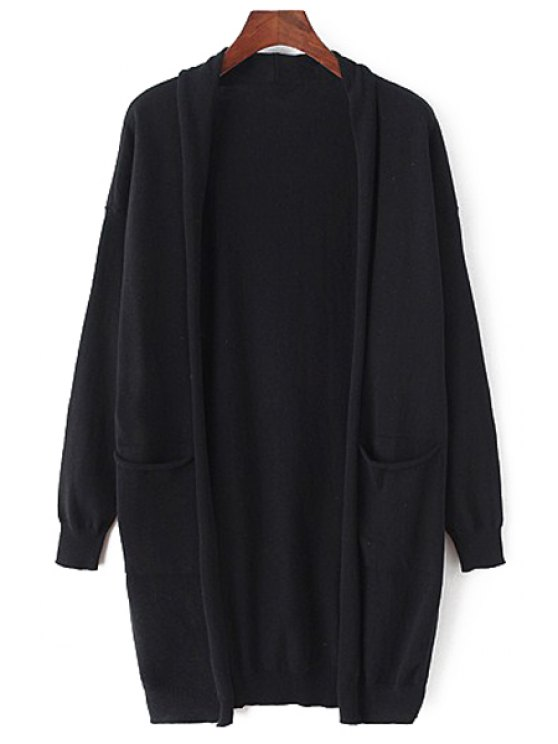 women Open Front Solid Color Long Cardigan - BLACK ONE SIZE(FIT SIZE XS TO M)