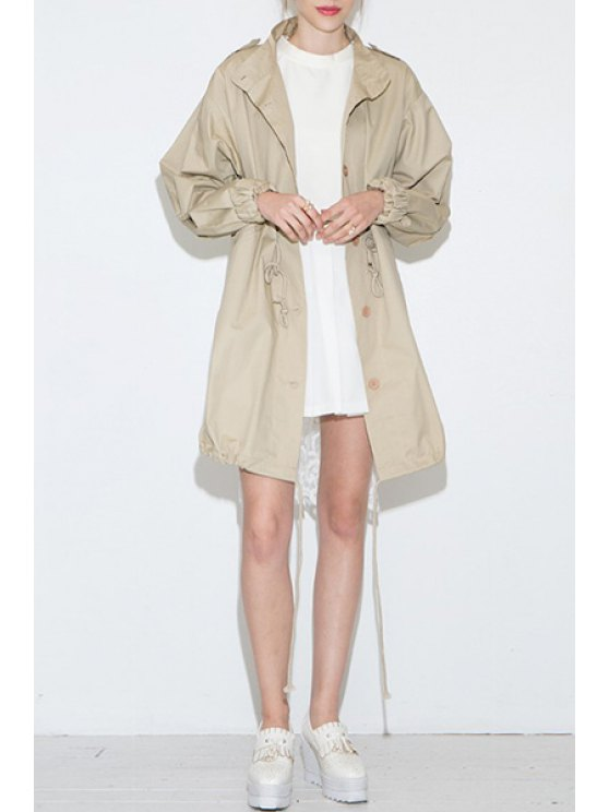 chic Lace Spliced Stand Neck Long Sleeve Trench - KHAKI S