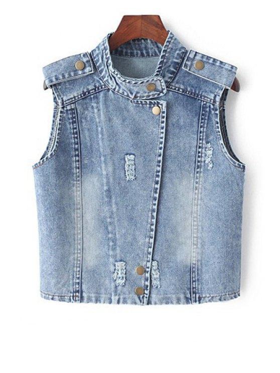 buy Stand Neck Denim Waistcoat - BLUE M