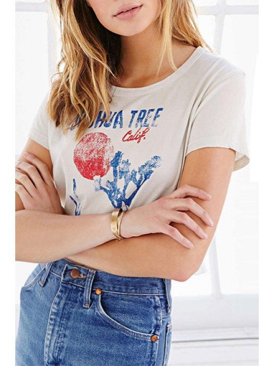 new Scoop Neck Color Block Letter Print T-Shirt - WHITE S