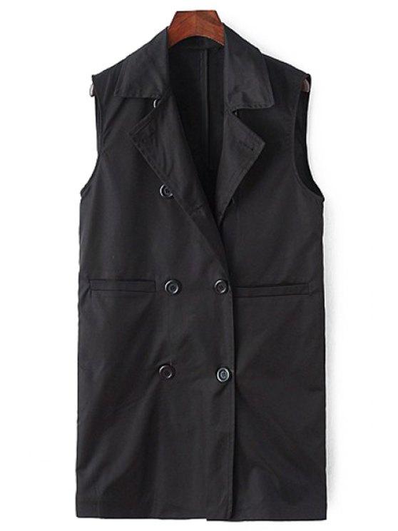 women Lapel Double-Breasted Waistcoat - BLACK M