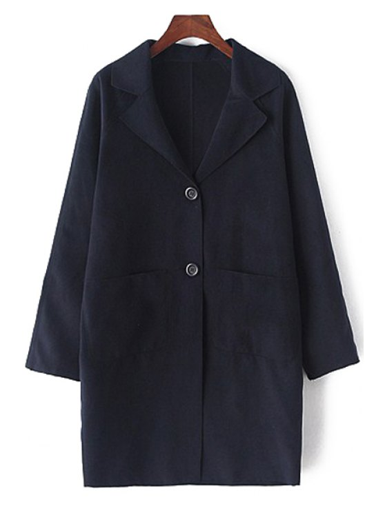 ladies Lapel Long Sleeve Single-Breasted Coat - CADETBLUE M