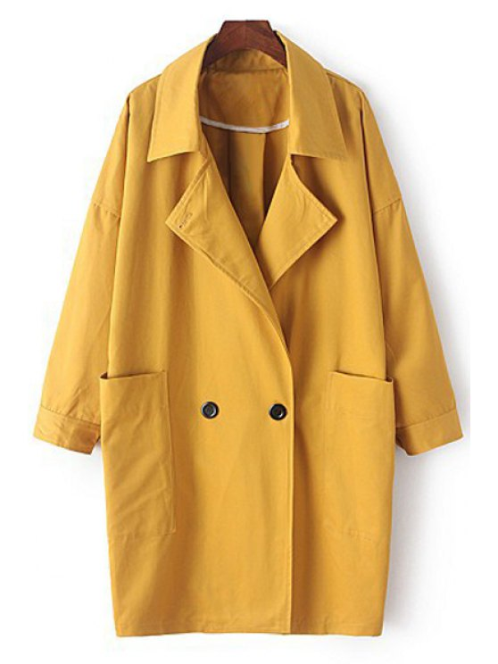 outfits Lapel Long Sleeve Pocket Trench Coat - YELLOW L