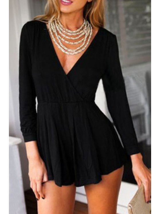 trendy Solid Color Hollow Out Long Sleeve Playsuit - BLACK S