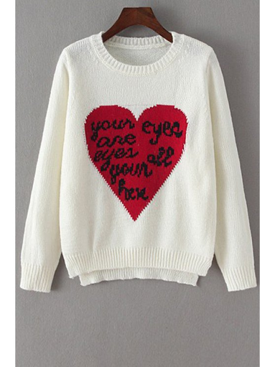 unique Red Heart and Letter Pattern Sweater - WHITE ONE SIZE(FIT SIZE XS TO M)