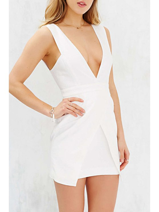 unique Plunging Neck White Backless Sleeveless Dress - WHITE XS