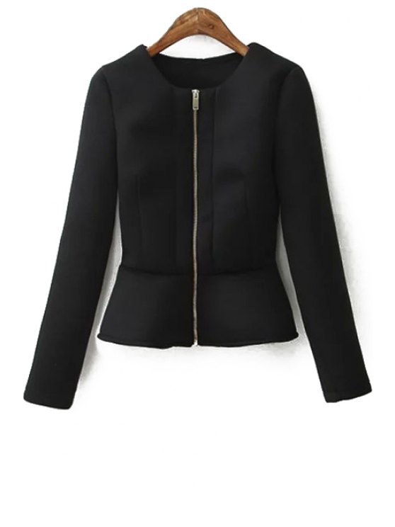 new Zippered Solid Color Peplum Coat - BLACK S
