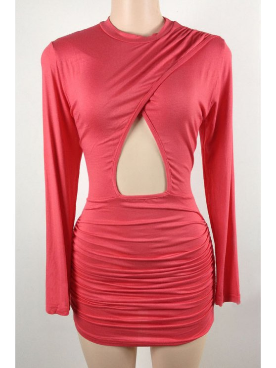 women's Hollow Stand Long Sleeve Bodycon Dress - PEACH RED L