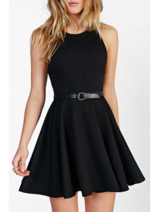 women's Jewel Neck Black Backless Sleeveless Dress - BLACK XS