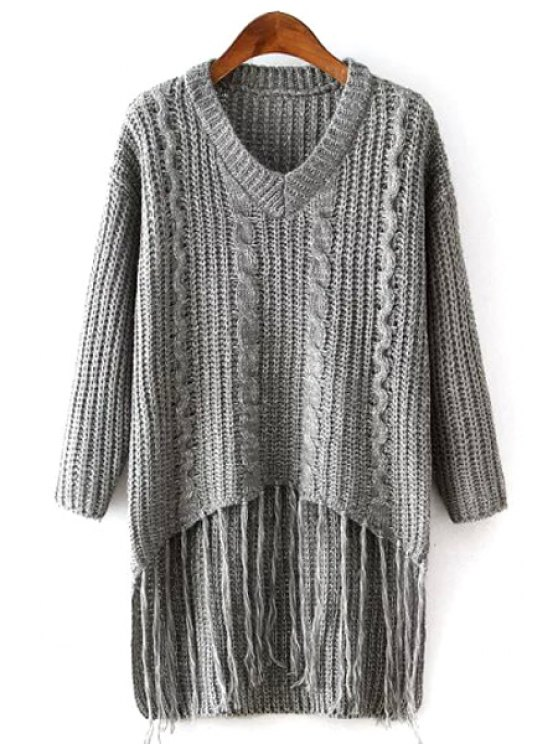 trendy Bat-Wing Sleeve Weave Pattern V-Neck Gray Sweater - GRAY ONE SIZE(FIT SIZE XS TO M)