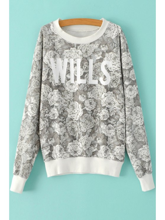 outfit White Flower Print Sweatshirt - GRAY M