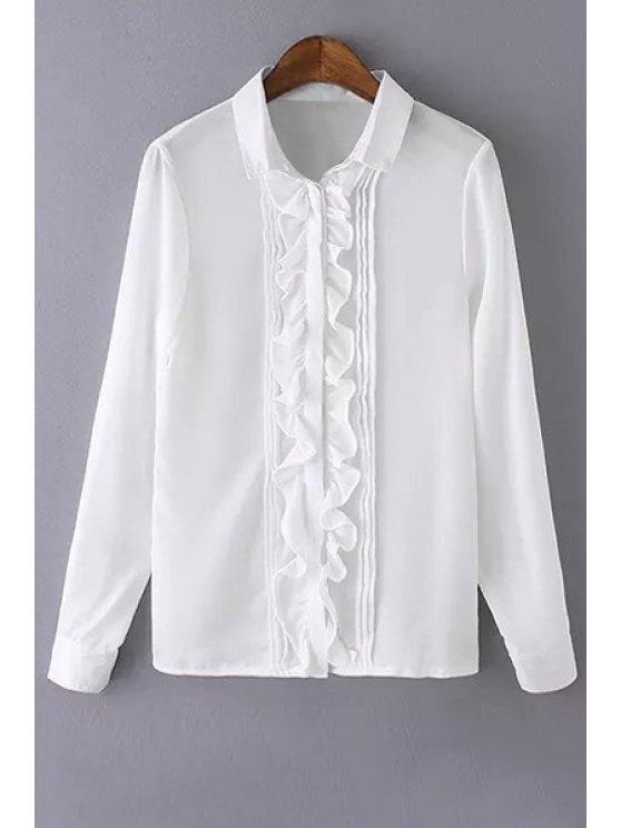 affordable Ruffles Spliced Shirt Neck Long Sleeve Shirt - WHITE S