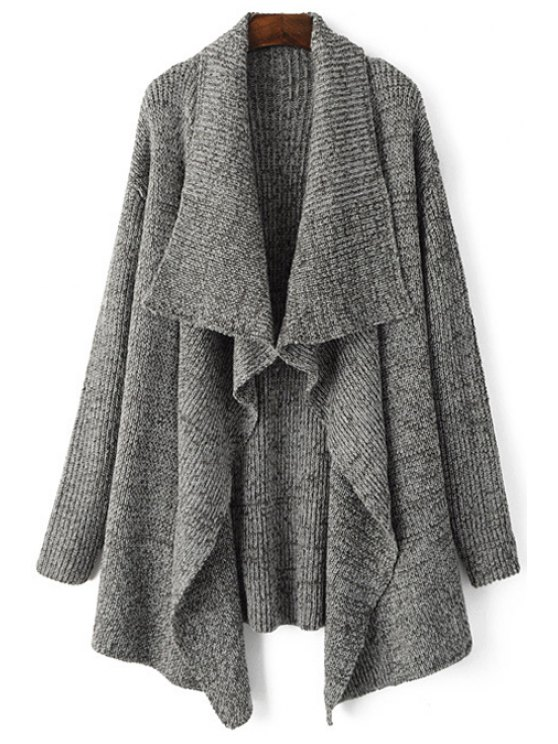 best Gray Waterfall Cardigan - GRAY ONE SIZE(FIT SIZE XS TO M)
