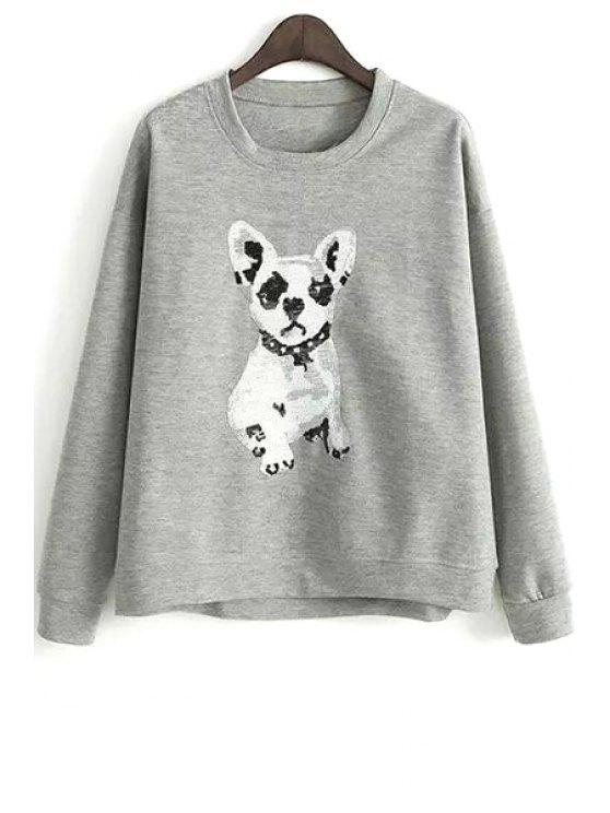 latest Puppy Pattern Loose Sweatshirt - GRAY M
