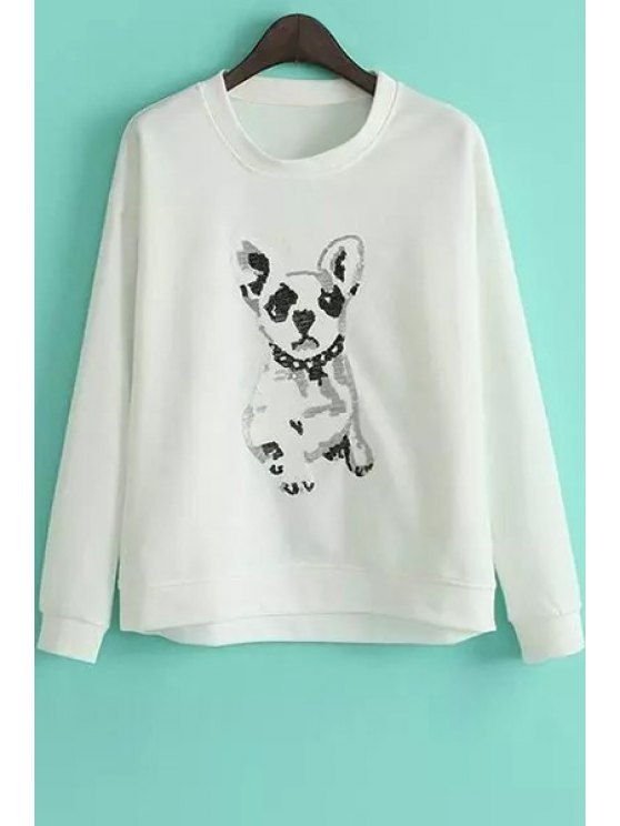 fashion Puppy Pattern Loose Sweatshirt - WHITE M