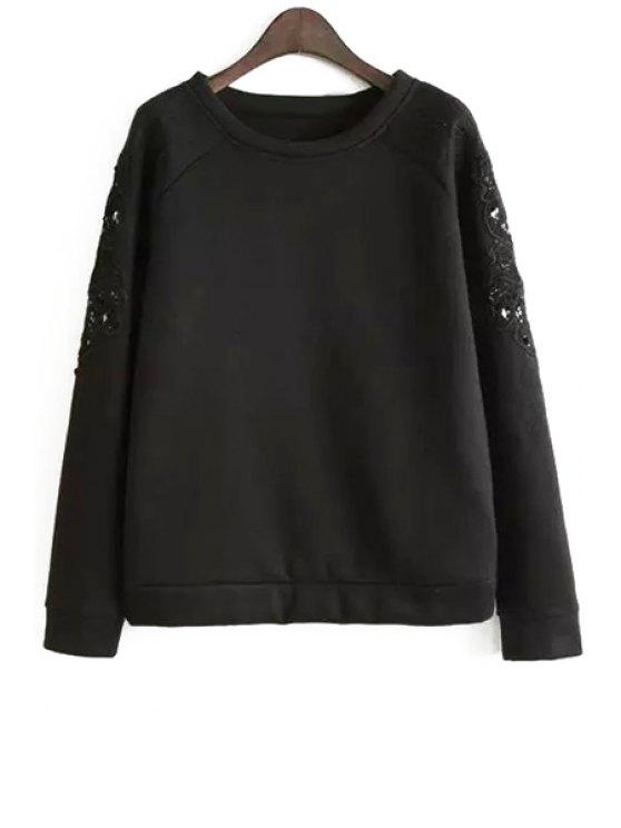 fancy Embroidered Sleeve Loose Sweatshirt - BLACK M