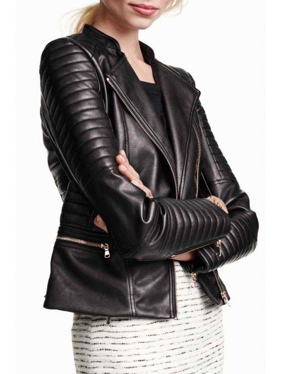 fashion Zip Pocket PU Leather Coat - BLACK S