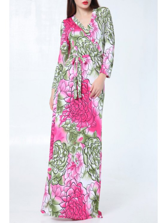 shops Color Block Floral Pattern Long Sleeve Dress - ROSE ONE SIZE(FIT SIZE XS TO M)