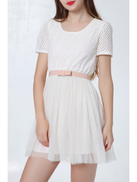 latest Scoop Neck Voile Splicing Bowknot Short Sleeve Dress - WHITE S
