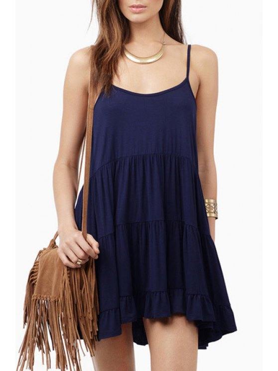 shops Solid Color Flare Cami Dress - BLUE S