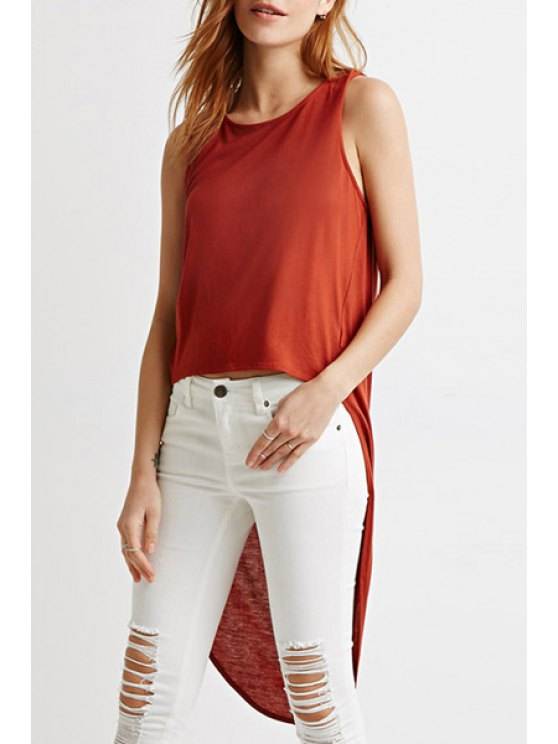 outfit Solid Color Dovetail Tank Top - BRICK-RED M