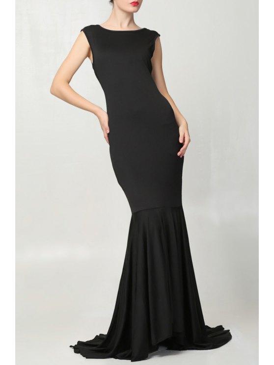 lady Black Mermaid Sleeveless Maxi Dress - BLACK ONE SIZE(FIT SIZE XS TO M)