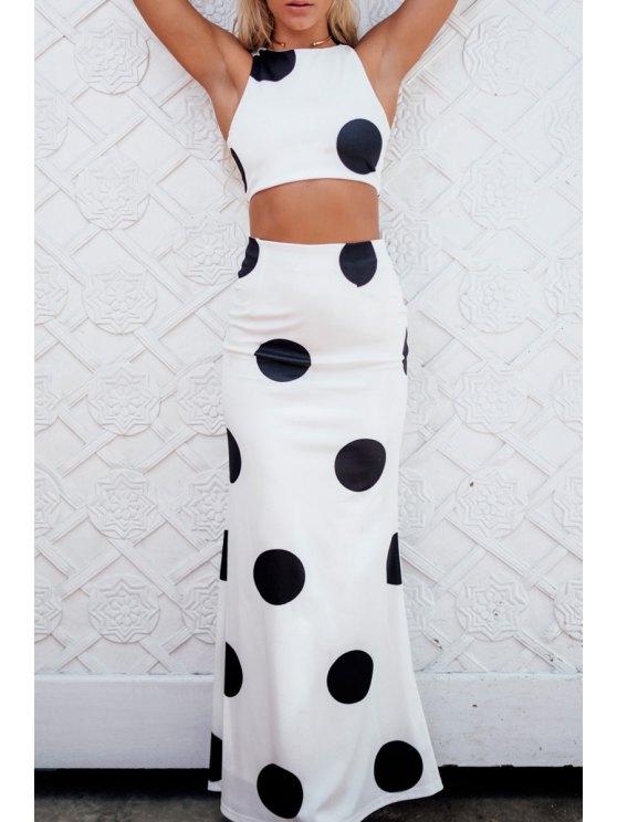 unique Black Polka Dot Sleeveless Crop Top + Skirt - WHITE AND BLACK S