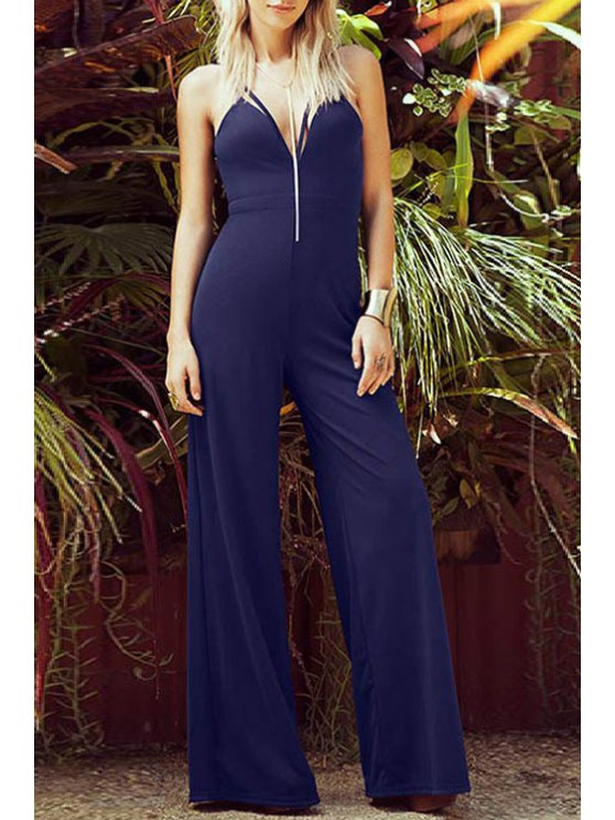 unique Spaghetti Strap Backless Wide Leg Jumpsuit - PURPLISH BLUE S