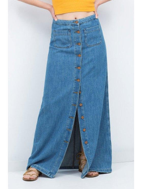 sale Denim High Waisted A Line Skirt - BLUE M