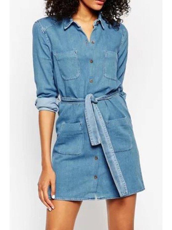 latest Blue Denim Turn Down Collar Long Sleeve Dress - BLUE S