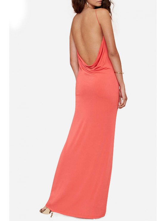 womens Backless Solid Color Cami Dress - ORANGE RED M