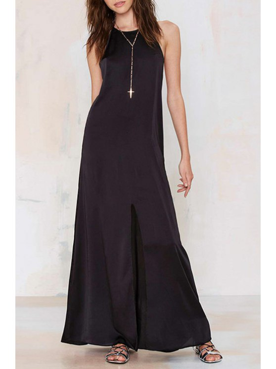 lady Spaghetti Strap Hollow Back Maxi Dress - BLACK S