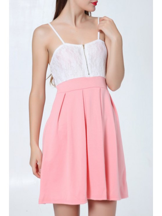 outfit White Lace Splicing Spaghetti Strap Sleeveless Dress - WATERMELON RED S