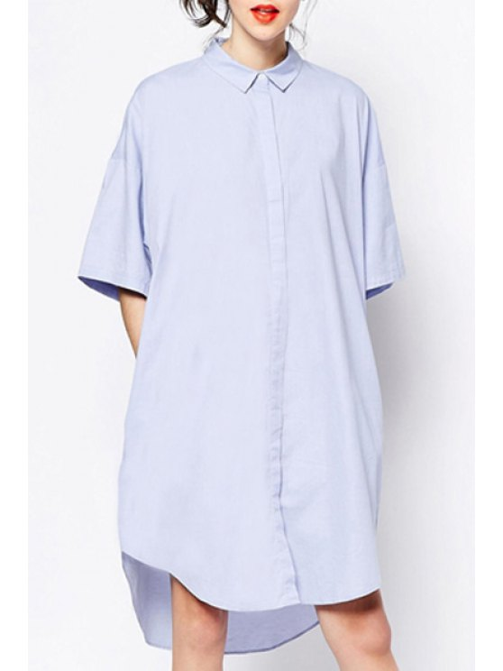 lady Polo Collar Pure Color Short Sleeve Dress - LIGHT BLUE S