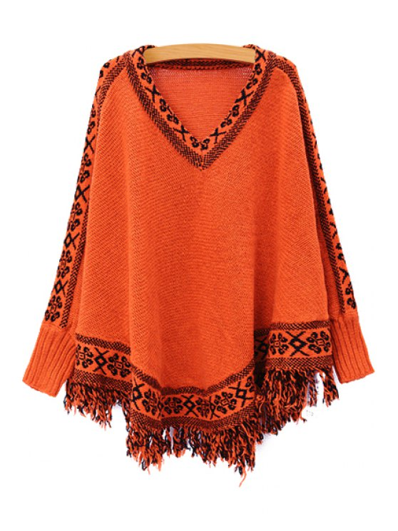 fashion Batwing Sleeve Tassels Cape Sweater - JACINTH ONE SIZE(FIT SIZE XS TO M)
