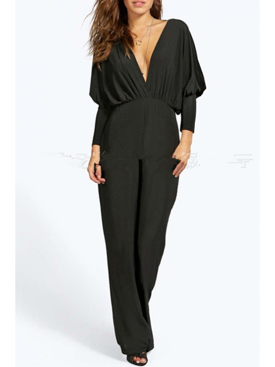 fancy Plunging Neck Solid Color Ruffle Jumpsuit - BLACK S
