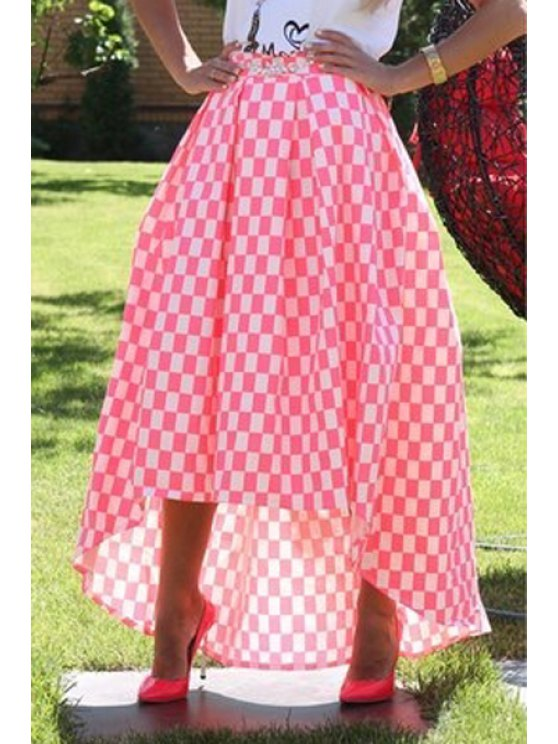 online High Low Plaid Ball Gown Skirt - ROSE S