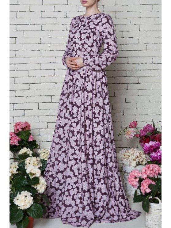 shop Vintage Tiny Floral Print Maxi Dress - PURPLE S