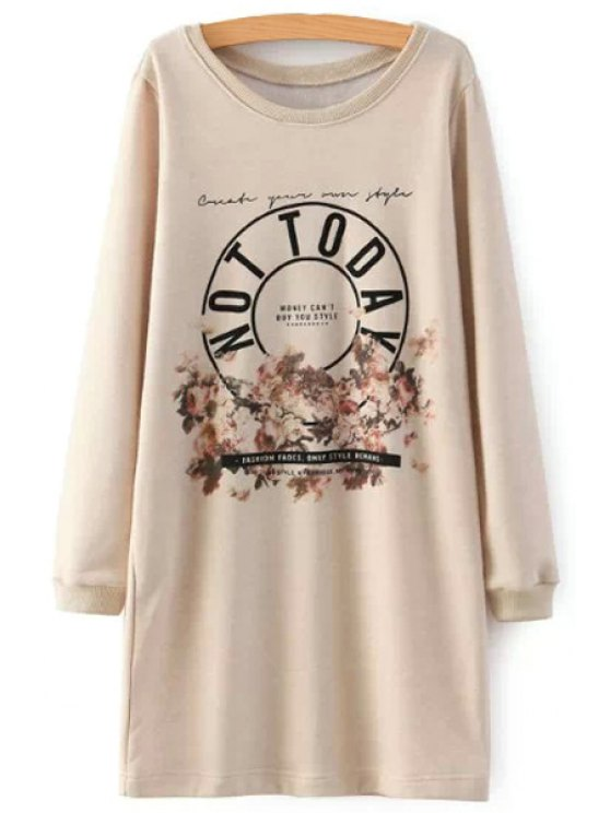 online Letter Print Long Sleeves Straight Dress - BEIGE S