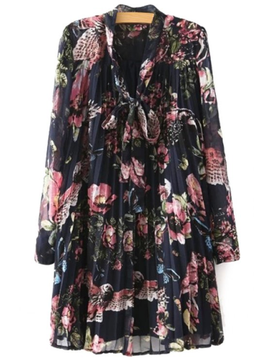 best Full Floral Long Sleeves Chiffon Dress - BLACK S