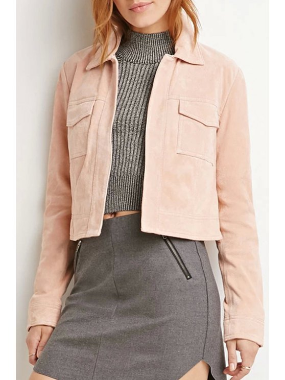 fashion Solid Color Vintage Long Sleeve Jacket - PINK S
