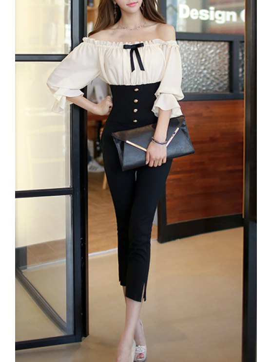 sale Off-The-Shoulder High-Waisted Spliced Jumpsuit - WHITE AND BLACK S